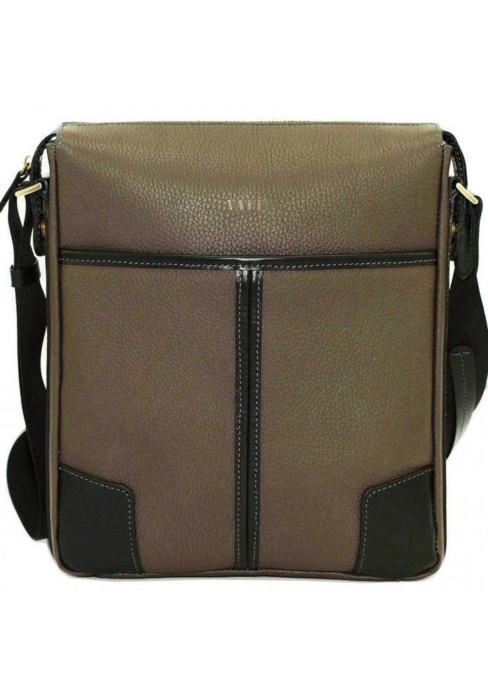 Серая кожаная мужская сумка через плечо с черными вставками Vatto MK10
