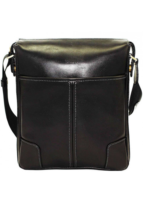 Черная кожаная мужская сумка через плечо из гладкой кожи Vatto MK10