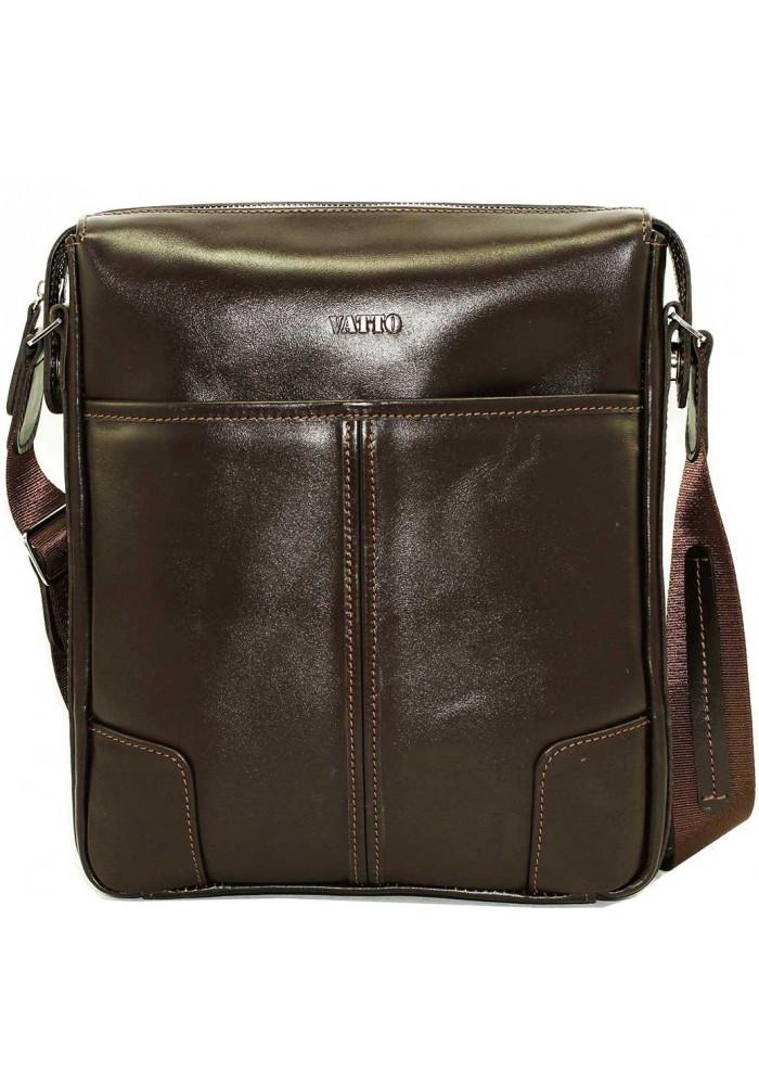 Коричневая кожаная мужская сумка через плечо из гладкой кожи Vatto MK10