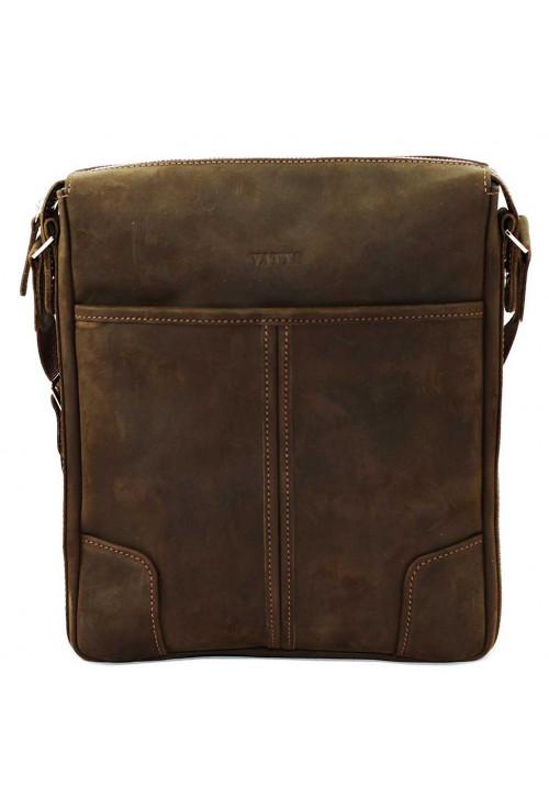 Коричневая кожаная мужская сумка через плечо из матовой кожи Vatto MK10