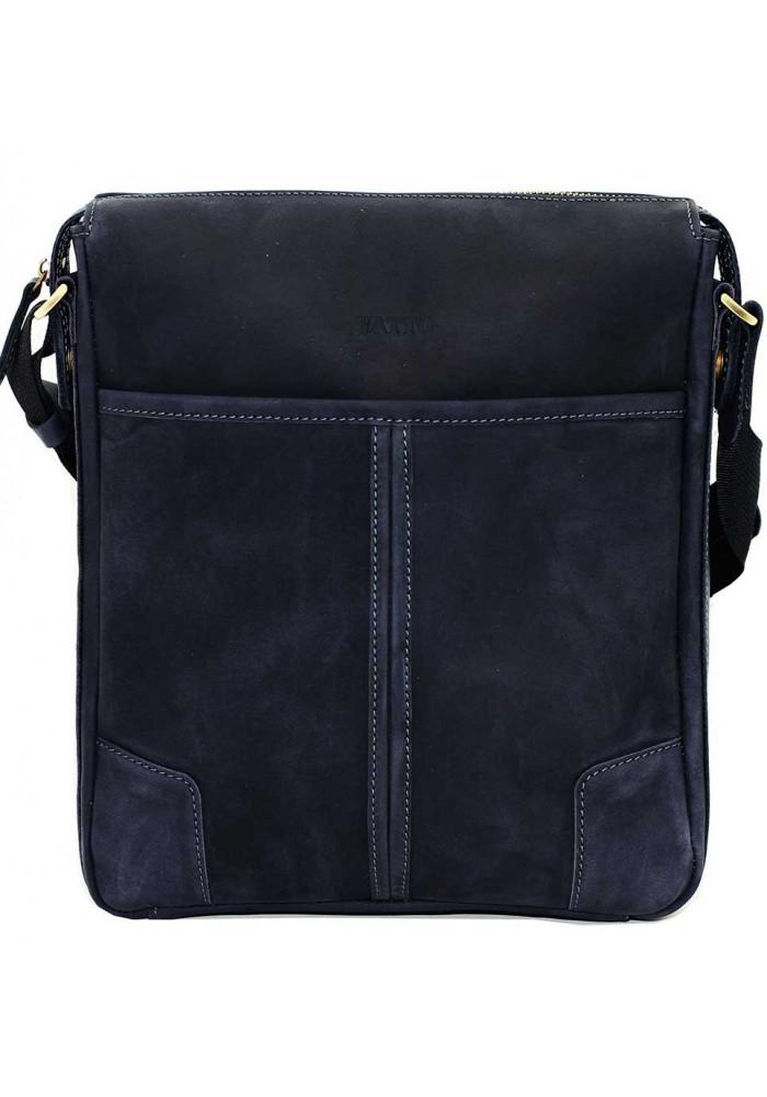 Синяя кожаная мужская сумка через плечо из матовой кожи Vatto MK10