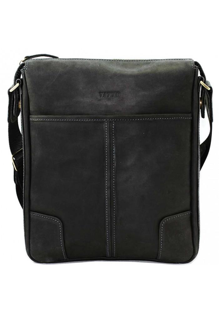Черная кожаная мужская сумка через плечо из матовой кожи Vatto MK10