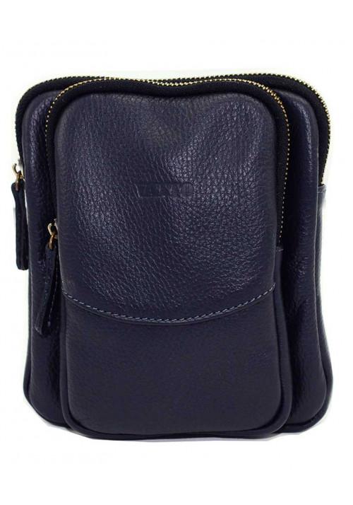 Небольшая синяя кожаная мужская сумка через плечо Vatto MK12