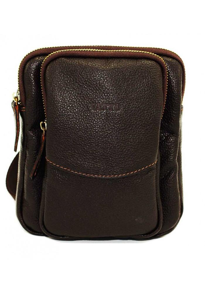 Небольшая коричневая кожаная мужская сумка через плечо Vatto MK12