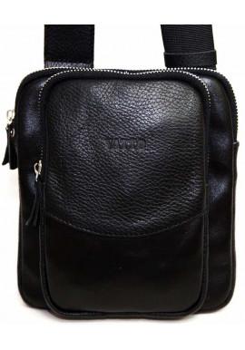 Фото Небольшая черная кожаная мужская сумка через плечо Vatto MK12