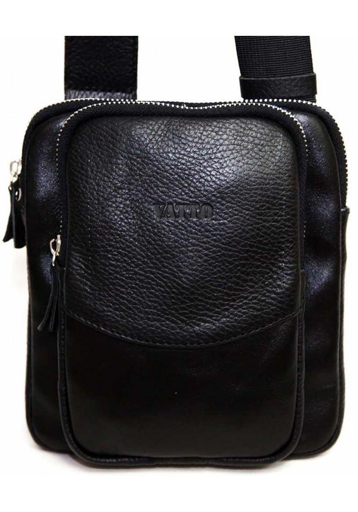 Небольшая черная кожаная мужская сумка через плечо Vatto MK12