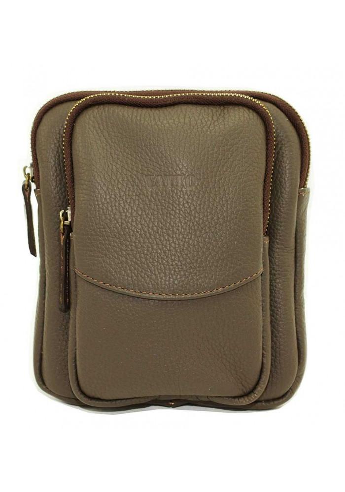 Небольшая серая кожаная мужская сумка через плечо Vatto MK12