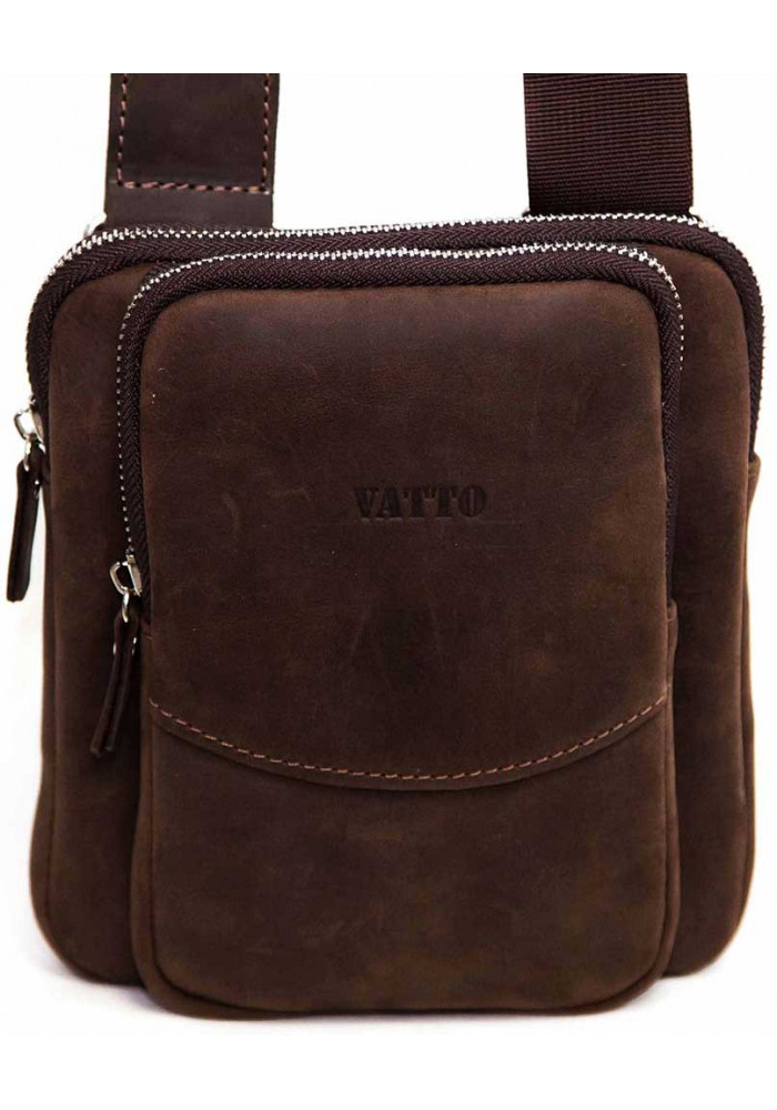 Компактная коричневая кожаная мужская сумка через плечо Vatto MK12