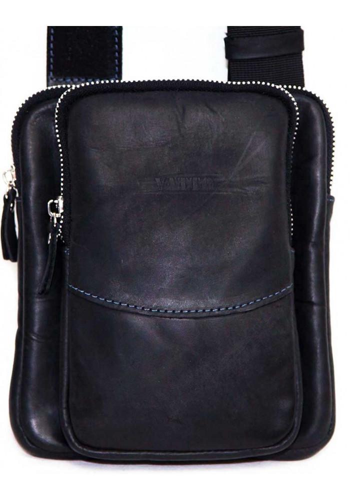 Компактная черная кожаная мужская сумка через плечо Vatto MK12