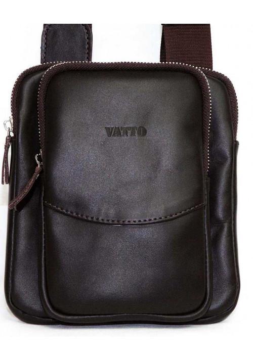 Маленькая коричневая кожаная мужская сумка через плечо Vatto MK12