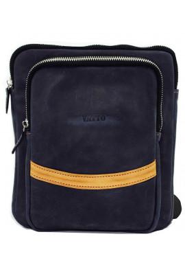 Фото Синяя кожаная мужская сумка через плечо среднего размера Vatto