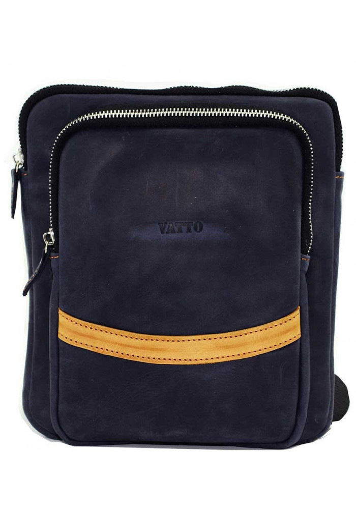 Синяя кожаная мужская сумка через плечо среднего размера Vatto