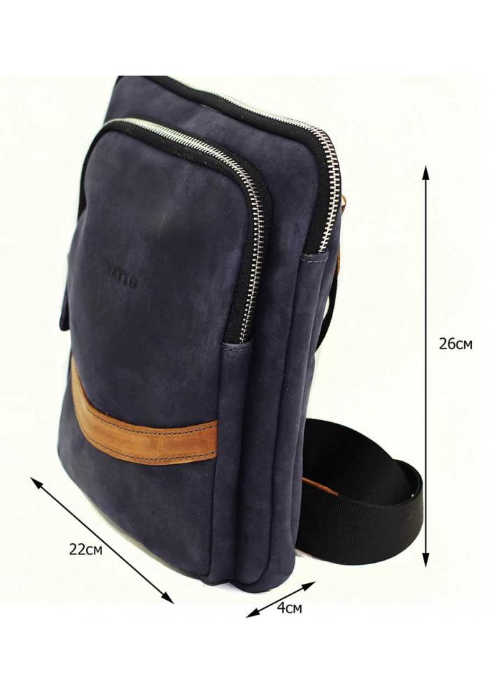 139f4a1b2db3 Синяя кожаная мужская сумка через плечо среднего размера Vatto, фото №2 -  интернет магазин ...