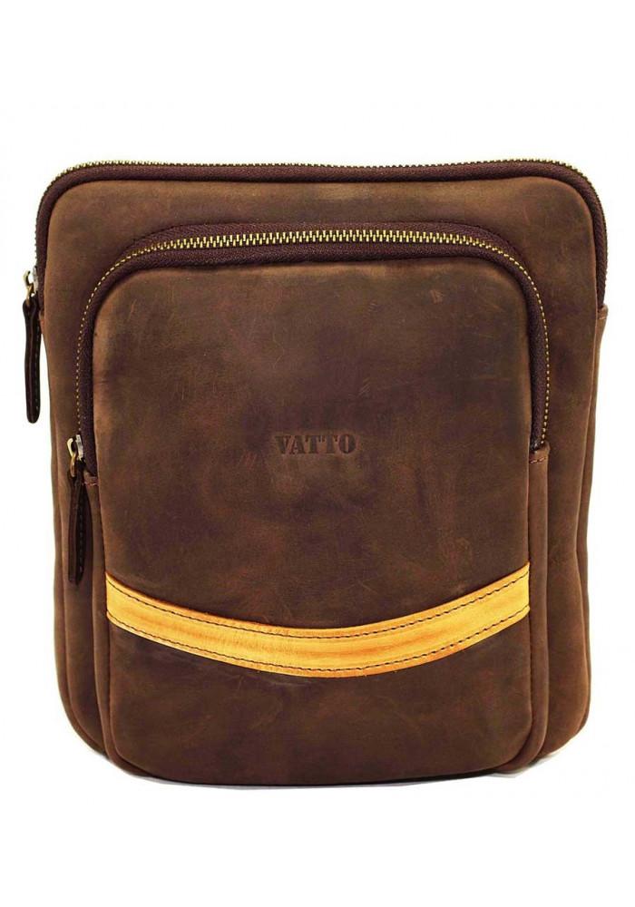 Коричневая матовая кожаная мужская сумка через плечо Vatto MK-12.2