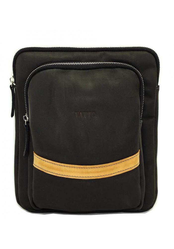 Фото Черная кожаная мужская сумка через плечо с рыжими вставками Vatto MK-12.2