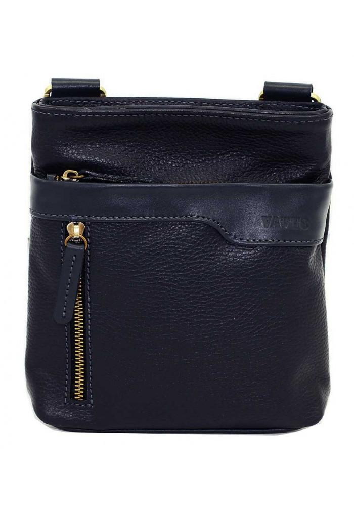 Синяя кожаная мужская сумка через плечо с наружным карманом Vatto