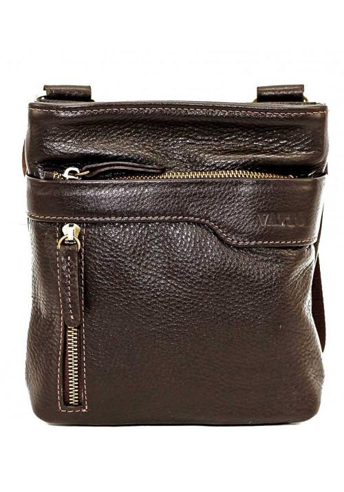 Коричневая кожаная мужская сумка через плечо с наружным карманом Vatto