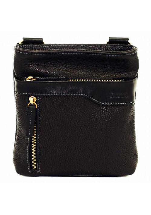 Черная кожаная мужская сумка через плечо с наружным карманом Vatto