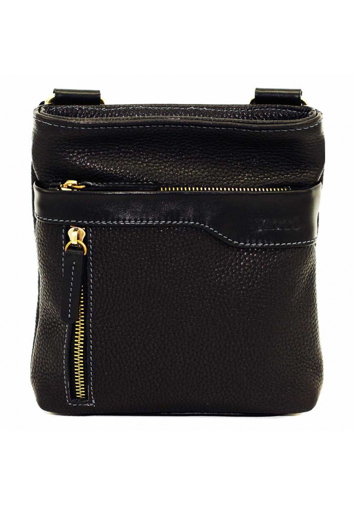 Фото Черная кожаная мужская сумка через плечо с наружным карманом Vatto