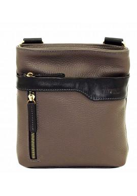 Фото Серая кожаная мужская сумка через плечо с наружным карманом Vatto