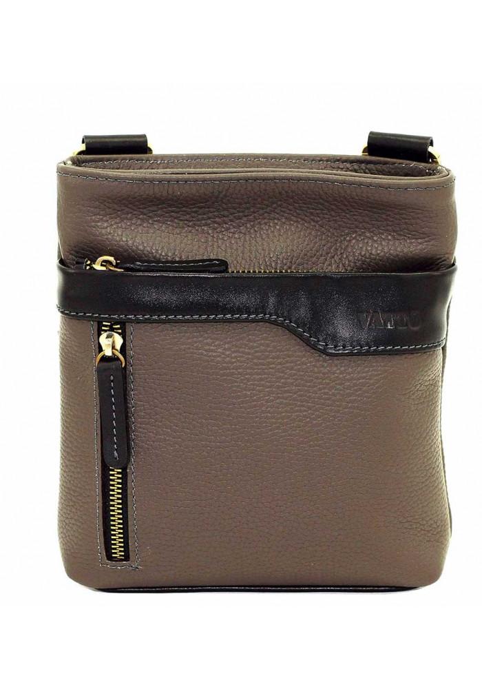 Серая кожаная мужская сумка через плечо с наружным карманом Vatto