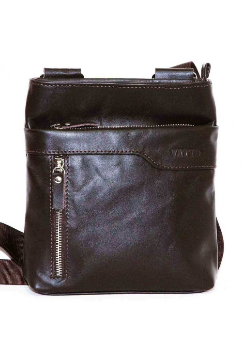 Кожаная мужская сумка через плечо из гладкой коричневой кожи Vatto
