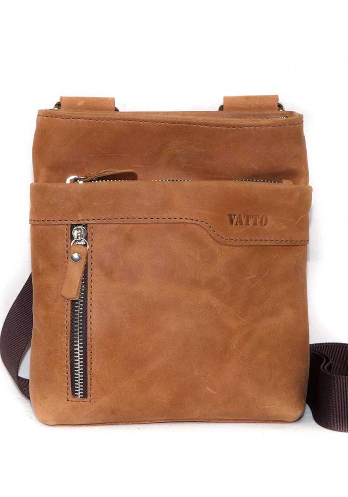 Кожаная мужская сумка через плечо из гладкой рыжей кожи Vatto
