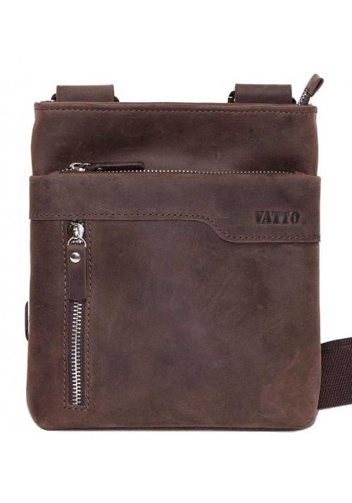 Кожаная мужская сумка через плечо из коричневой матовой кожи Vatto