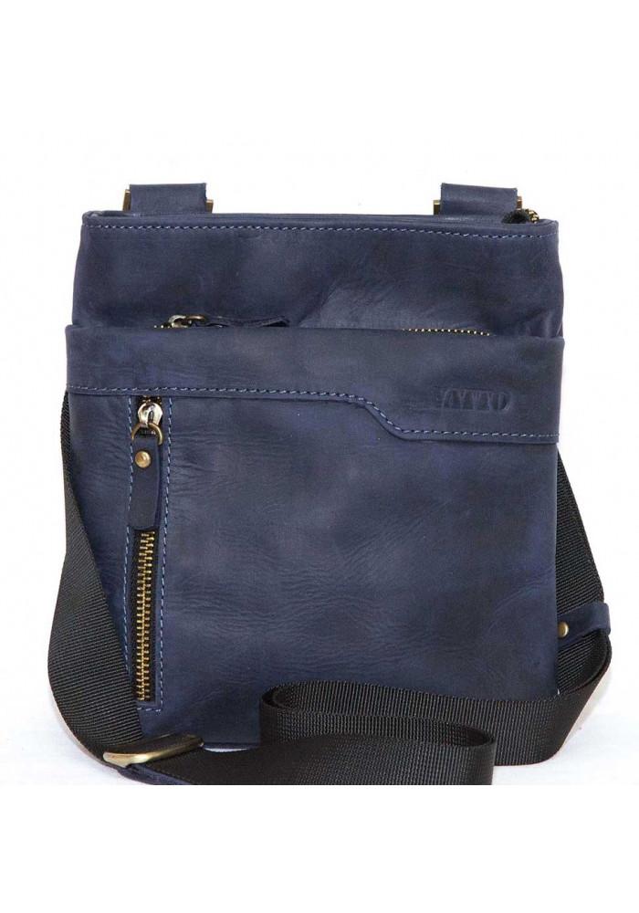 Кожаная мужская сумка через плечо из синей матовой кожи Vatto