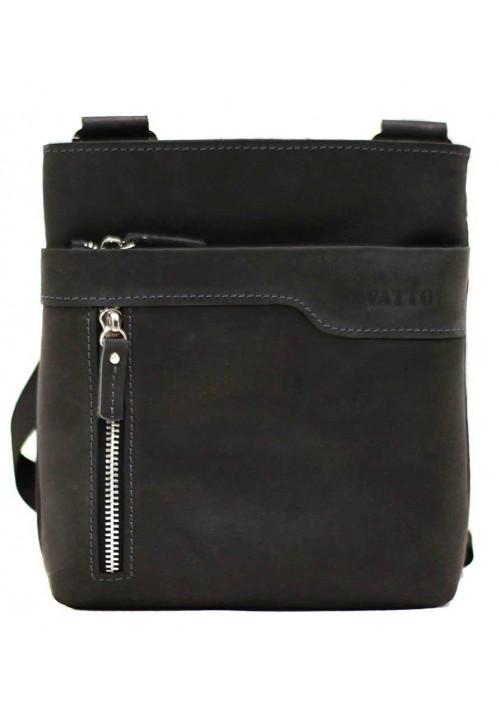 Кожаная мужская сумка через плечо из черной матовой кожи Vatto