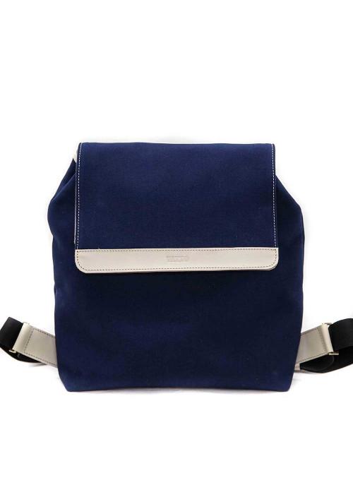 Синий молодежный рюкзак Vatto с белыми кожаными вставками