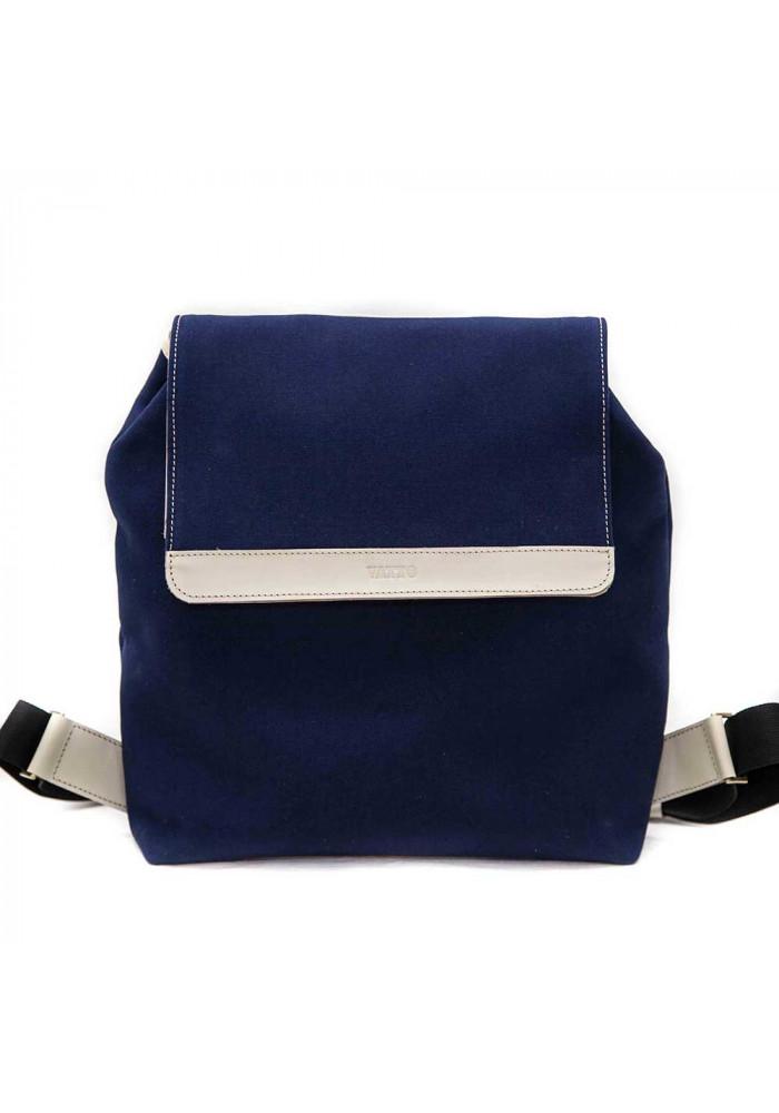 Фото Синий молодежный рюкзак Vatto с белыми кожаными вставками