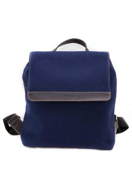 Фото Синий молодежный рюкзак Vatto с коричневыми кожаными вставками
