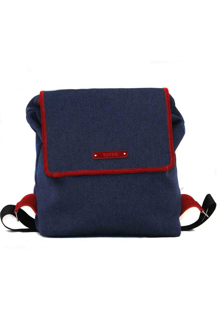 Синий молодежный рюкзак Vatto с коричневыми кожаными вставками