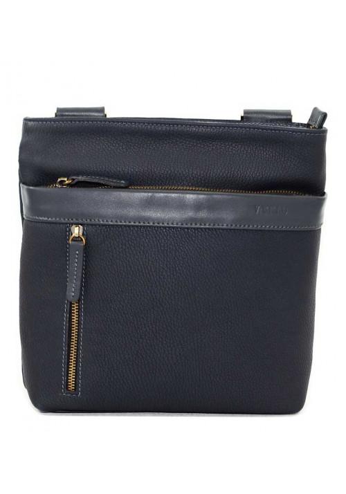 Кожаная мужская сумка через плечо синяя Vatto
