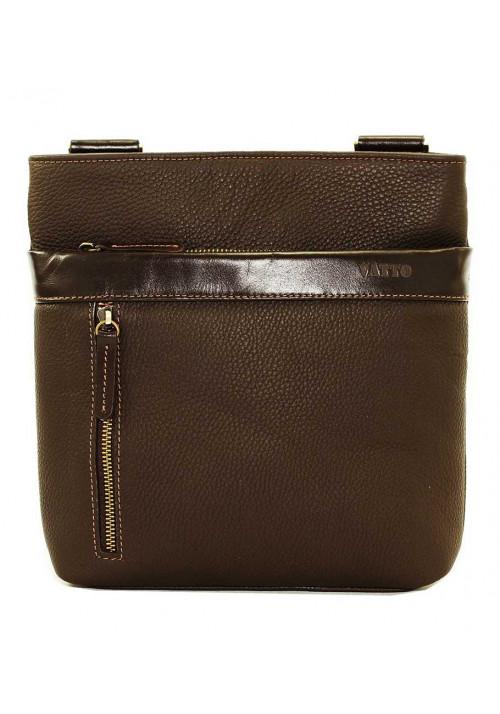 Кожаная мужская сумка через плечо коричневая матовая Vatto