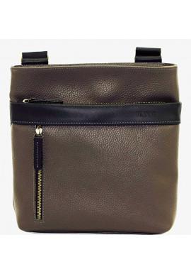 Фото Кожаная мужская сумка через плечо серая Vatto