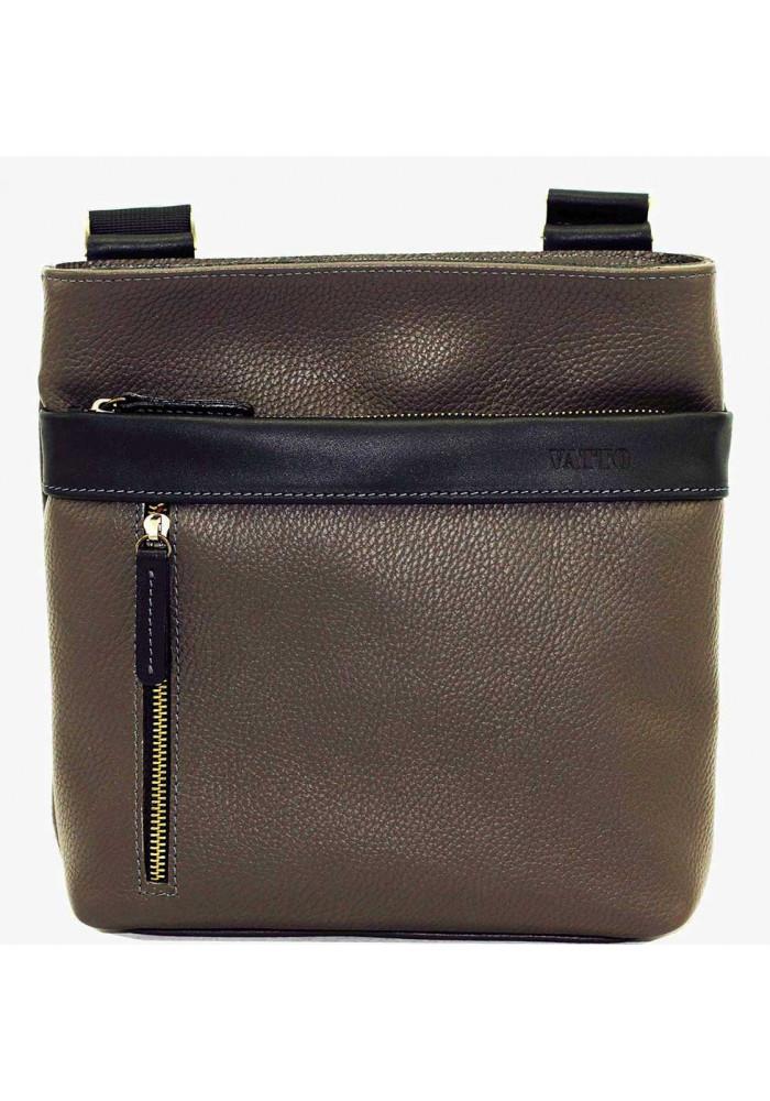 Кожаная мужская сумка через плечо серая Vatto