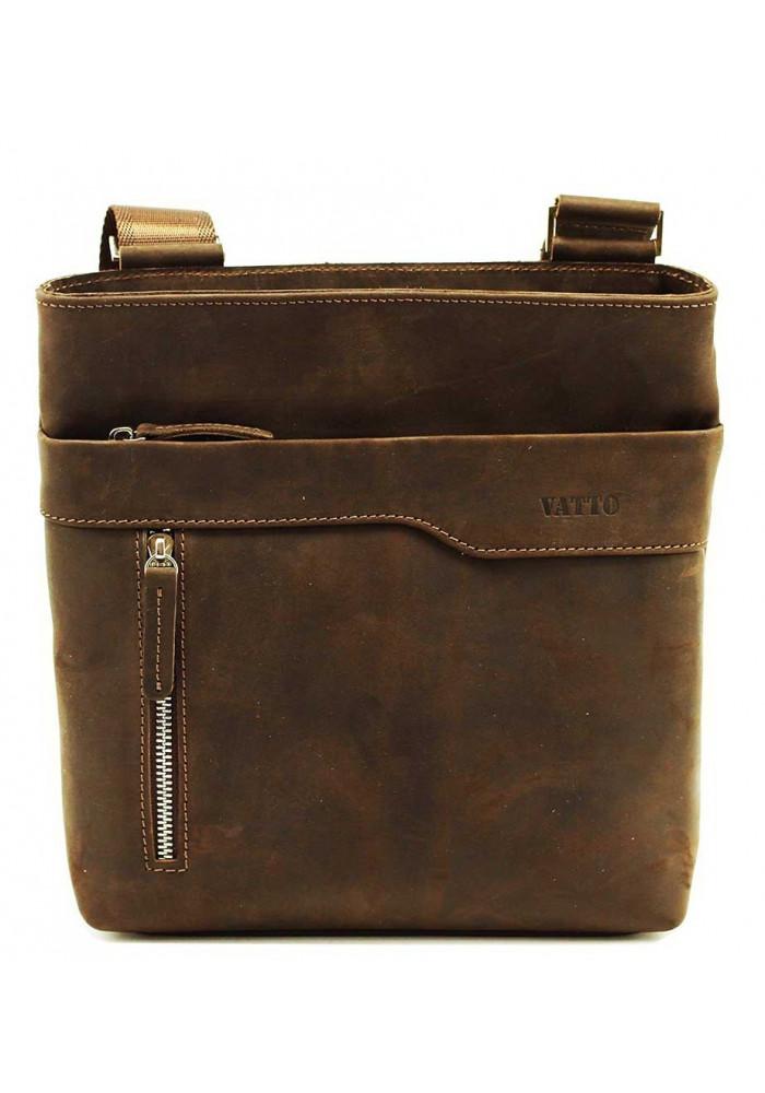 Кожаная мужская сумка через плечо коричневая винтажная Vatto