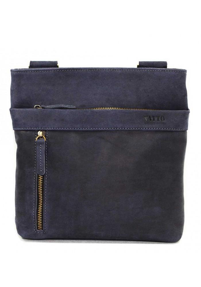 Кожаная мужская сумка через плечо синяя винтажная Vatto