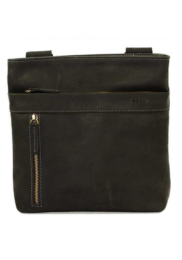 Кожаная мужская сумка через плечо черная винтажная Vatto