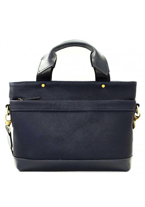 Мужская кожаная сумка синяя Vatto