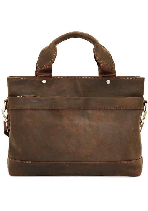 Мужская кожаная сумка коричневая матовая Vatto