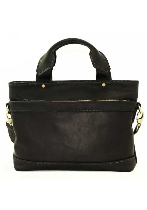Мужская кожаная сумка черная матовая Vatto