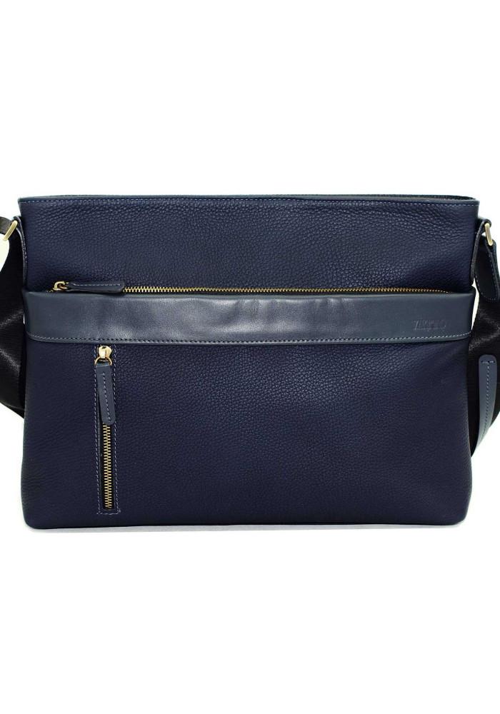 Мужская кожаная сумка-мессенджер синяя Vatto