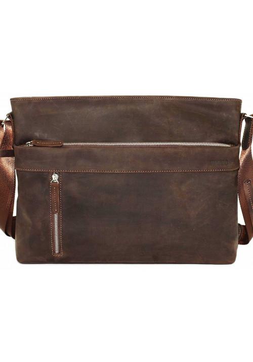 Мужская кожаная сумка-мессенджер коричневая Vatto