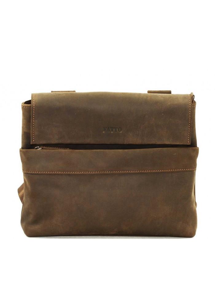 Мужская кожаная сумка через плечо коричневая Vatto
