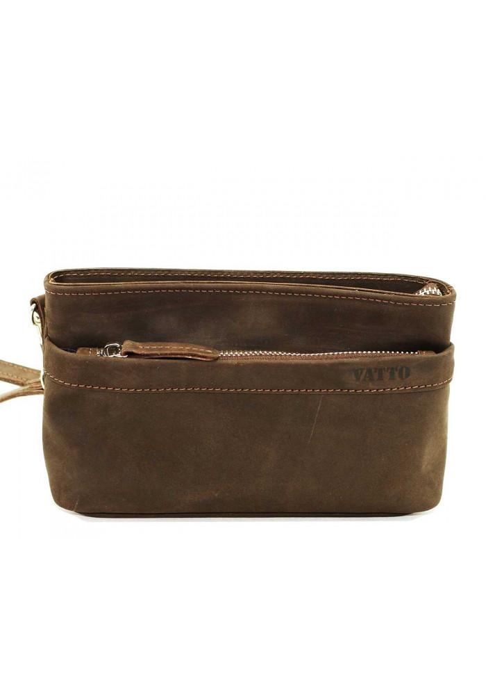 Мужская кожаная сумка через плечо коричневая винтажная Vatto
