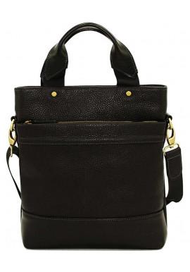 Фото Мужская кожаная сумка через плечо черная винтажная Vatto