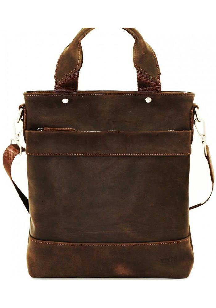 Мужская кожаная сумка вертикальная коричневая Vatto